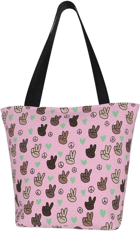 Cute Victory Sign V Love Pink Themed Printed Women Canvas Handbag Zipper Shoulder Bag Work Booksbag Tote Purse Leisure Hobo Bag For Shopping