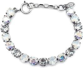 Catherine Popesco White Opalescent & Crystal AB Mix Swarovski Crystal Silvertone Bracelet Adj