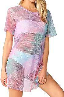 Women's Long Sleeve T Shirt Hoodies Dress Tie-dye Pullover Swing Mini Dress