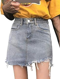 [ユリカー] レディース デニムスカート ミニスカート Aライン おしゃれ 夏 ファッション 通勤 通学 ハイウェスト 着痩せ ショートスカート