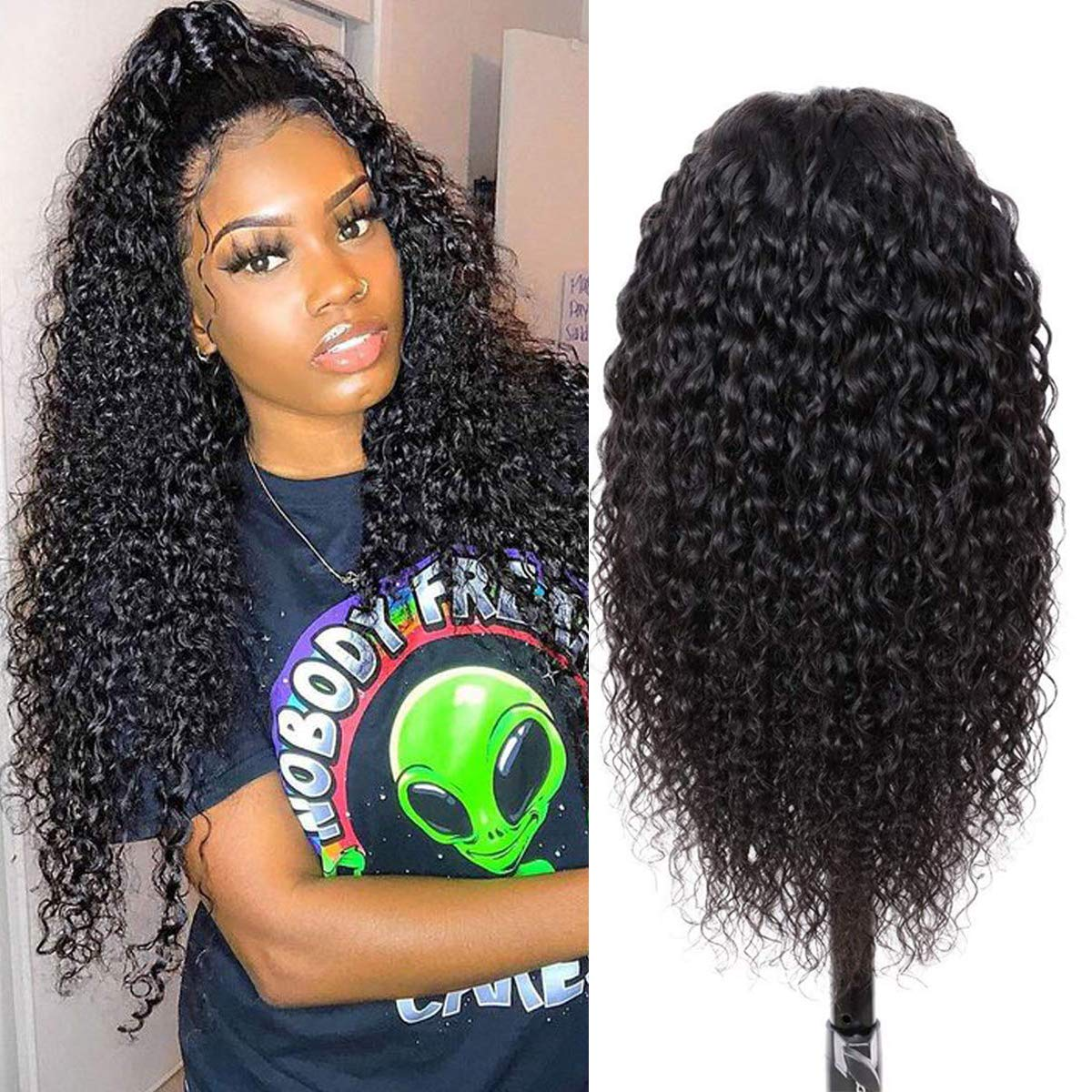 LUMIERE Hair 24inch Kinky Curly Human Wigs Atlanta Mall Closure OFFicial store 4x4 Lace