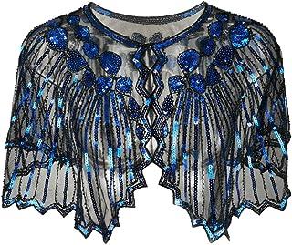 Runyue Women Sequin Shrug Jacket Glitter Short Sleeve Cropped Bolero Shrugs