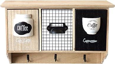 Wandkast 'Coffee', 3 lades, 3 metalen haken, muurorganizer voor het opbergen van koffiepads en thee