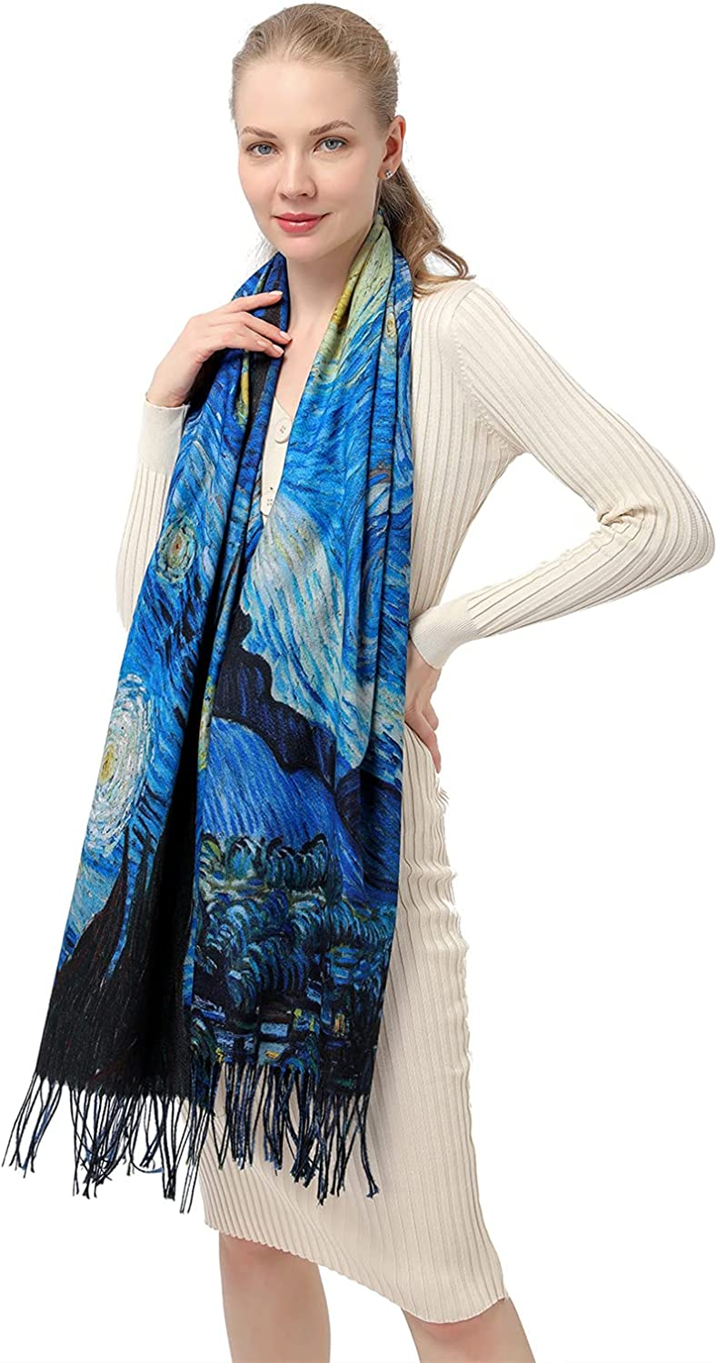 Women's Fashion Scarf with Art Printed Tassel Soft Cashmere Warm Large Blanket Wrap Shawl for gift