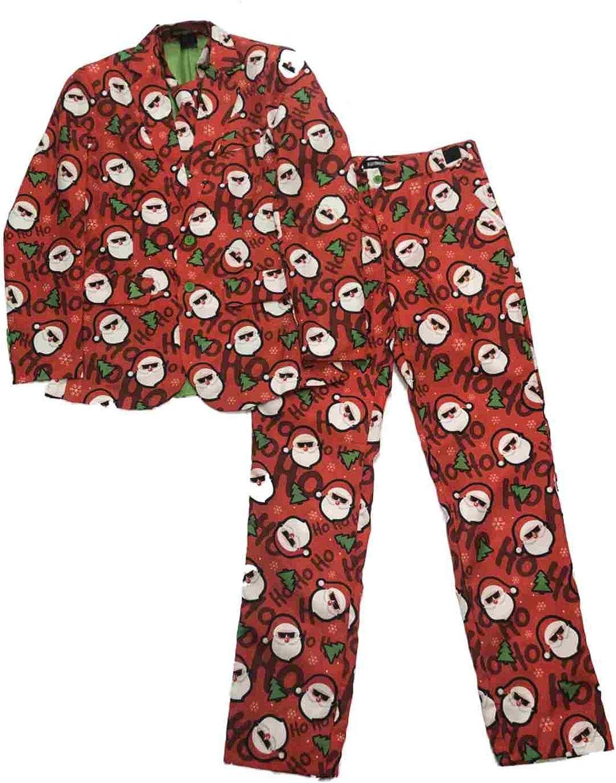 Mens Red Hipster Santa HoHo Christmas Suit Sportscoat Blazer Pants & Tie Set S