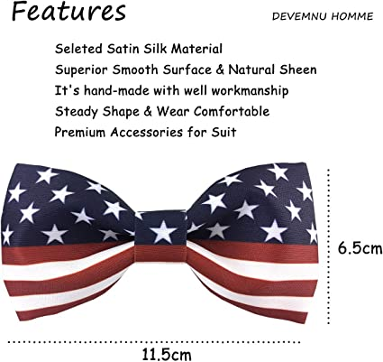 by DEVEMNU HOMME Mens Fashion American Flag Pattern Satin Silk Bow Ties for Foraml Tuxedo