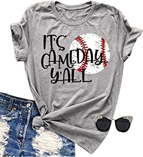 It's Game Day Y'all T Shirt Women Casua Baseball Mom Cute Graphic T-Shirt Top Tee