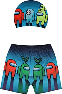Among Us Game Kid's Swim Shorties Swimming Trunks with Cap Cartoon Print Fashion Boy's Swim Trunks