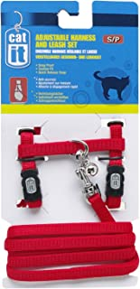 Catit Nylon Adjustable Cat Harness and Leash Set, Small, Red
