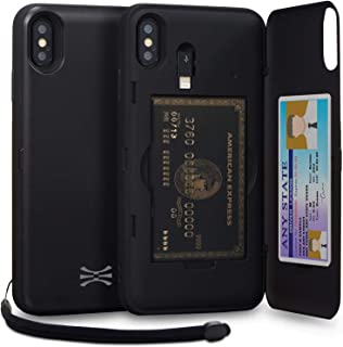 TORU CX PRO iPhone Xs Max Wallet Case Black with Hidden Credit Card Holder ID Slot Hard Cover, Strap, Mirror & Lightning A...