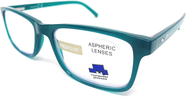 VENICE EYEWEAR OCCHIALI | Gafas ver de cerca, lectura con Filtro Luz Azul, Ordenador Gaming Móvil, Protección Antifatiga (1- 1,50 - 2 - 2,50 - 3 - 3,50) (Verde, Graduación +1,00)
