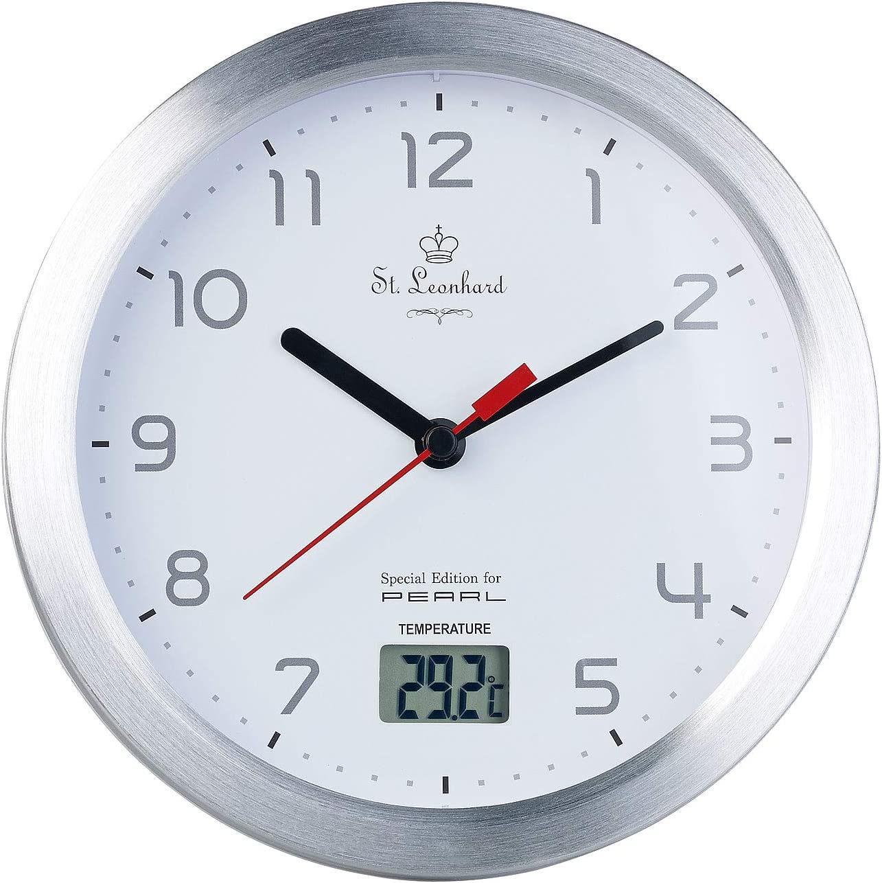 St. Leonhard Baduhr Badezimmer Wanduhr mit LCD Thermometer und  Aluminium Rahmen, IPX20 Uhr fürs Bad