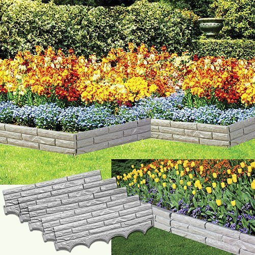 BW Brands Set of 5 Faux Stone Sectioned Weather Resistant Garden Walls