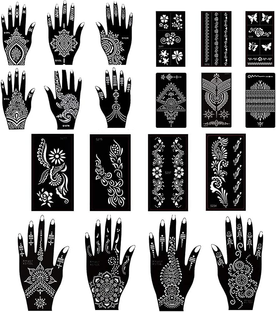 Stencils Los Angeles Mall for Henna Tattoos Max 71% OFF Temporary Tattoo Sh Set Temples 20 of