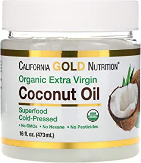 California Gold Nutrition Organic Virgin Coconut Oil Superfood Cold Pressed Unrefined 16 fl oz 473 ml, Egg-Free, Fish-Free...
