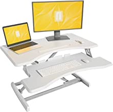 Standing Desk with Height Adjustable – FEZIBO Stand Up Desk Converter, 33 inches White Ergonomic Tabletop Workstation Rise...
