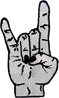 Punk Rock and Roll Heavy Metal Music Hand Symbol Sign Language Embroidered Badge Iron On Sew On Patch