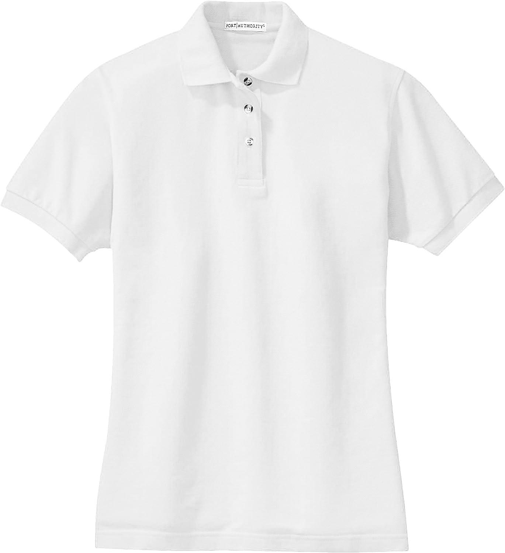Port Authority Ladies Short Sleeve Cotton Pique Knit Sport Shirt Polo-White L420