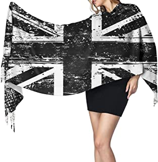 White And Black British Flag England Cashmere Scarf Lightweight Long Shawl Soft Warm Shawl Scarves Elegant Women Blanket Scarf For Fall Winter Indoor Outdoor