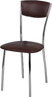 2 sillas de cocina de metal y cuero ecológico efecto cocodrilo Amarant para cocina, salón, restaurante