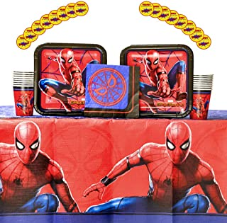 Spiderman Party Supplies Pack for 16 Guests | Includes Stickers, Dinner Plates, Luncheon Napkins, Cups, and Table Cover | Spiderman Birthday Party Supplies | Superhero Birthday Party Supplies