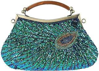 Elenxs Vintage Peacoock Beaded Embroidery Handbag Dinner Weding Party Clutch Purse Handmade Evening Shoulder Bag