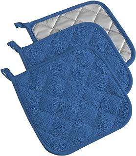 DII 100% Cotton, Terry Pot Holder Set Machine Washable, Heat Resistant, 7 x 7, Blueberry, 3 Piece