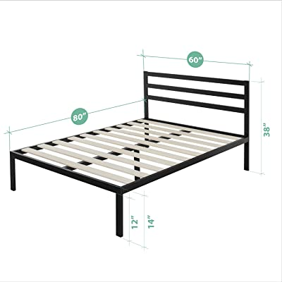 Zinus Deluxe Faux Leather Upholstered Platform Bed With