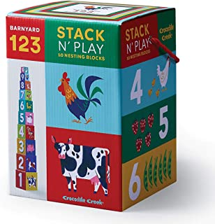 Crocodile Creek - Barnyard 123 - Stack 'N' Play Stacking & Nesting Blocks, Developmental Toy for Ages 6 Months & Up