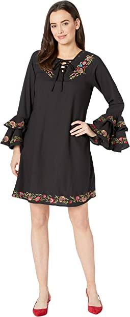 6ad3558f56a Black. 8. Scully. Patience Embroidered Flirty Sleeve Dress