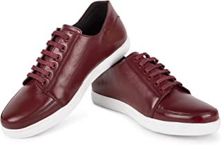 LOUIS STITCH Men's Handmade Genuine Leather Casual Sneakers for Men Men Leather Sneakers (Italy_FSW) (7, Carmine Red)