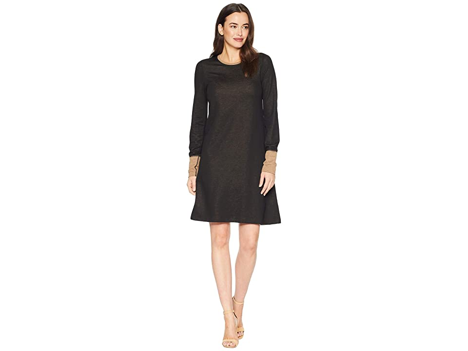 Three Dots Color Block Swing Dress (Black/Camel) Women