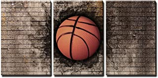 wall26 - 3 Piece Canvas Wall Art - 3D Rendering of a Basket Ball Embedded in a Brick Wall - Modern Home Decor Stretched and Framed Ready to Hang - 16