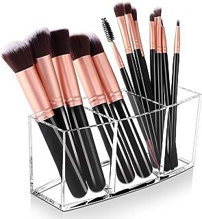 Makeup Brush Holder Organizer, 3 Slot Acrylic Cosmetic Brushes Storage Box, Eyebrow Eyeliner...