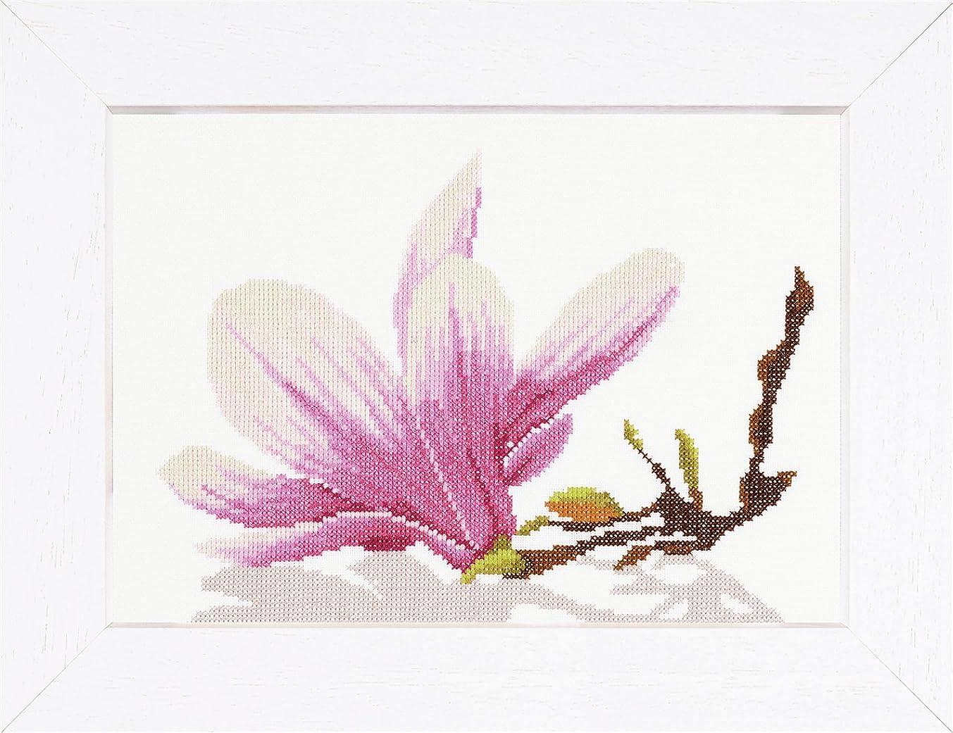 Lanarte Counted Cross Stitch Kit: Magnolia Twig Flower (Aida,W)