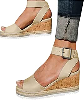Gyouanime Women Ankle Strap Platform Wedges Sandals High Heel Wedge Sandals Dress Shoes Peep Toe Sandals