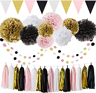 French/Paris Theme Birthday Decorations Party Decorations Birthday Parisian Baby Shower Decorations 35pcs Black Pink White Gold Tissue Paper Pom Pom Paper Tassel Garland Circle Garland Triangle Banner