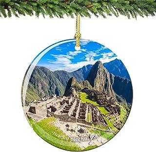 City-Souvenirs Machu Picchu Peru Christmas Ornament Porcelain, 2.75 Inch Double Sided Machu Picchu Ornaments