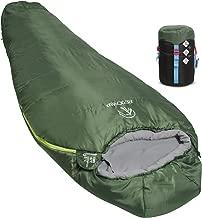 REDCAMP Mummy Sleeping Bag for Backpacking, Lightweight Portable Hiking Sleeping Bag for Adults, Women, Teen, Green (Regular Size)