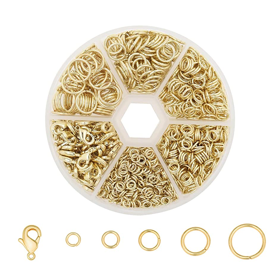 Wholesale 1350 PCS 14K Gold Solid Brass Open Jump Rings Mix-Size Jewelry Connectors Rings Bulk for DIY Jewelry Making Findings