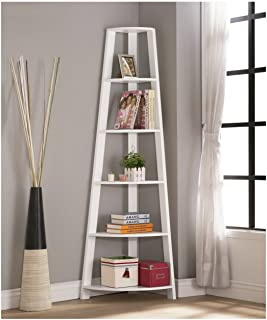 White Finish Wood Wall Corner 5-Tier Bookshelf Bookcase Accent Etagere