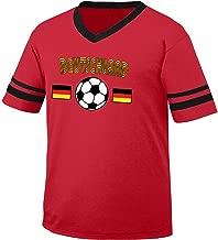 Deutschland Germany Soccer / Football and Flag Men's Retro Soccer Ringer T-shirt, Amdesco