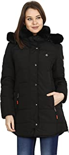 HIVER Women's Nylon Jacket 100% Water Proof Full-Sleeved Winter Jacket with Hood for Minus Degree