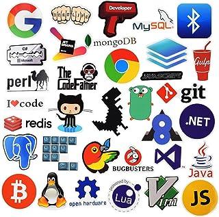 Sanmatic Lote 108Pcs Adhesivos para Ordenador Portátil para el Lenguaje de Programación Desarrollador Comprennent Logo Pegatina,C + +,Python,Linux,Swift,Los Piratas Informáticos,Les Geeks,Les Codeur