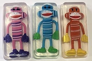 Sock Monkey Toy Embedded Kids Soap Bars Set of 3, Soap For Kids