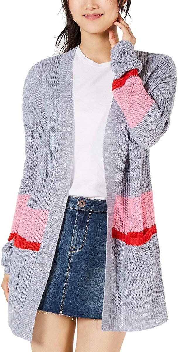 Ultra Flirt Womens Striped Open Front Cardigan Sweater Gray XL
