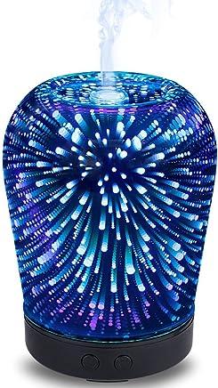 エッセンシャルオイルディフューザー100ミリリットルアロマセラピー超音波クールミスト加湿器3dデザインガラス7カラフルなライトモード (色 : 黒)