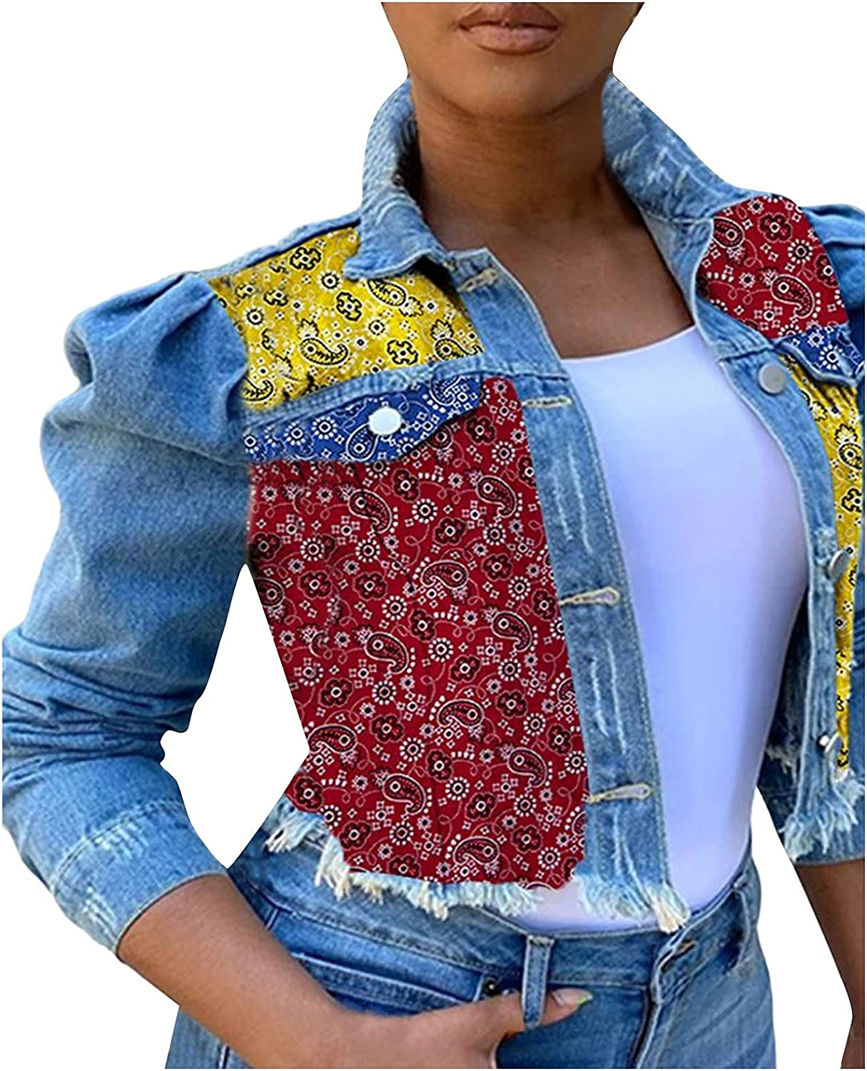 poundy shirt Women's Ripped Puff Sleeve Denim Jacket Pockets Front Button Down Turn-Collar Crop Printed Jean Coat