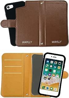 iPhone8 ケース iPhone7ケース どこでもくっつくケース WAYLLY(ウェイリー) iPhone6sケース iPhone6ケース 着せ替え 耐衝撃 米軍MIL規格 [専用ミラー付き手帳型ケース ブラウン] セット MK