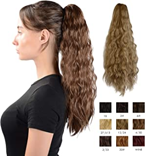 Sofeiyan Claw Clip in Ponytail Hair Extension Synthetic Long Corn Wave 20 Inch Curly Ponytail Hairpiece for Women Daily Party Use, Light Golden Brown & Pale Golden Blonde